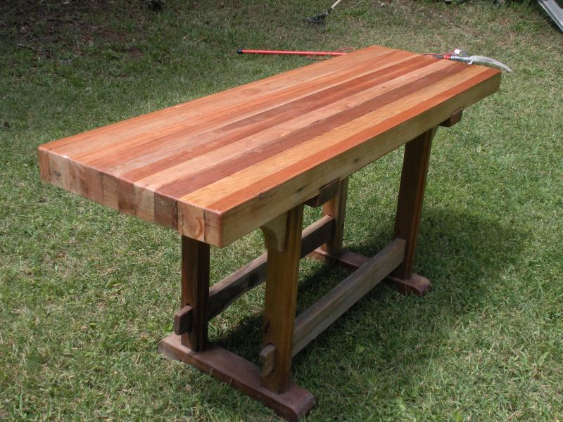 Exceptionnel Mixed Exotic Hardwood Butcher Block Table